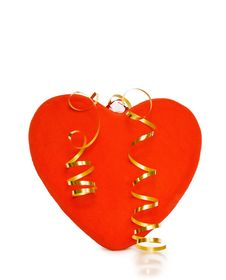 Free Celebrating Love With Red Heart On White Royalty Free Stock Photography - 10114707