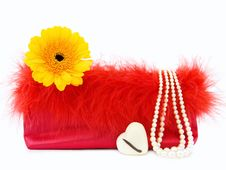 Glamour Girl - Red Vintage Handbag And Pearls Stock Photo