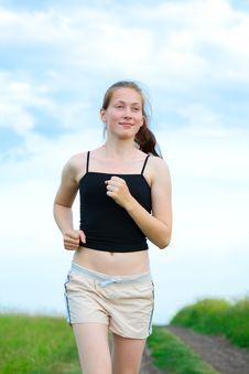 Free Woman Run On Green Grass Stock Photo - 10116730