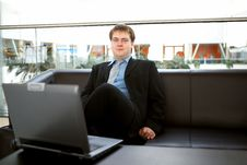 Free Happy Young Businessman With Laptop Royalty Free Stock Image - 10116746