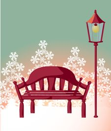 Free Wood Chair ,streetlight ,snowflake Stock Photo - 10117040