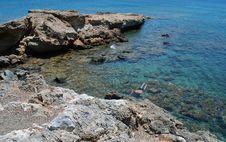 Free Rocks Sea And Snorkel Diver Royalty Free Stock Photo - 10117315