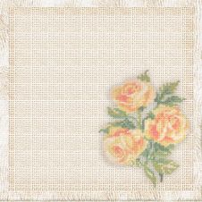 Linen Background With The Embroidered Roses Stock Photo