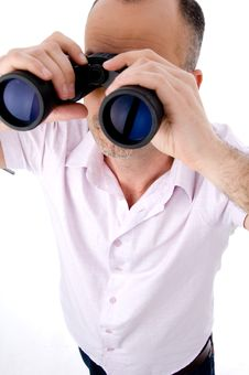 Free Man With Binoculars Royalty Free Stock Photos - 10118208