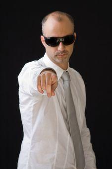 Senior Manager Pointing Towards Camera Stock Image