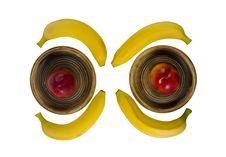 Bananas And Peaches Royalty Free Stock Photo