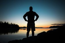 Free Silhouette, Water, Standing, Sunrise Stock Photography - 101164142