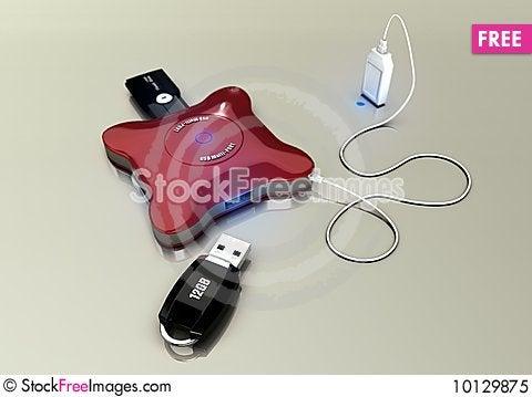4 port USB Hub Stock Photo