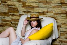 Girl In Yellow Hat Royalty Free Stock Image