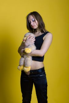Free Girl With A Toy - Monkey Stock Images - 10120544