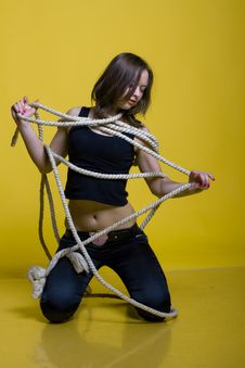 Girl With Rope Stock Photos
