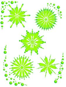 Abstract Flowered Background Green On White Royalty Free Stock Image