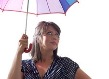 Free Confident Woman With Umbrella, Isolated Royalty Free Stock Photography - 10121757