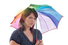 Free Pensive Women With Umbrella, Isolated Stock Images - 10121784