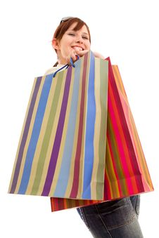 Free Young Woman With Shopping Bags Royalty Free Stock Photo - 10121995