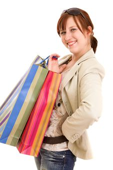 Free Young Woman With Shopping Bags Stock Photography - 10122002