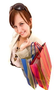 Free Young Woman With Shopping Bags Royalty Free Stock Image - 10122006