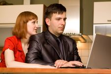Free Couple With Laptop Stock Image - 10122151