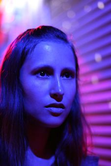 Free Beautiful Girl Close Up In Disco Light Stock Image - 10123071
