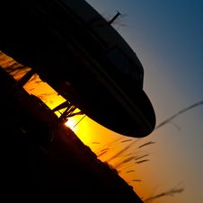 Free Sunset Plane Nose Royalty Free Stock Photo - 10123235