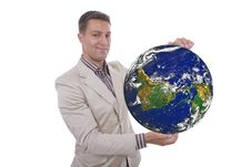 Free Man With Globe In Hands Stock Photos - 10124953