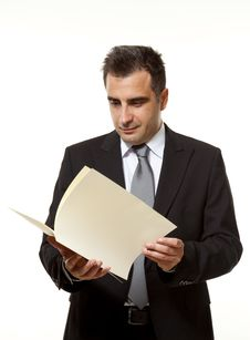 Businessman With Document Royalty Free Stock Image