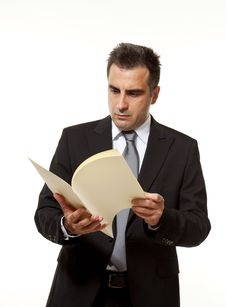 Businessman With Document Royalty Free Stock Photos