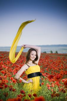 Free Attractive Girl In The Poppy Field Stock Photos - 10125613