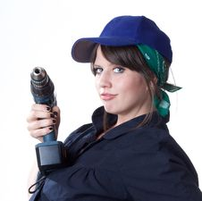 Free Woman Worker Holding A Drill Stock Photography - 10128962