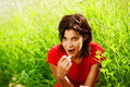Free Young Beautiful Girl With Cherries Royalty Free Stock Photo - 10131065