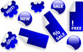 Free Set Of Blue Glossy Stickers Royalty Free Stock Image - 10139286
