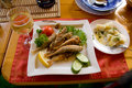 Free Fried Fish And White Wine Stock Images - 10139964