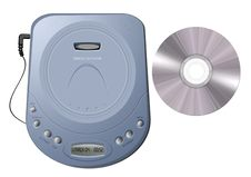 Free Portable CD Player - Blue Royalty Free Stock Image - 10131196