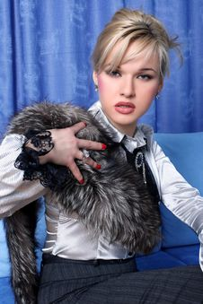 Free Girl With Fur Stock Images - 10131434