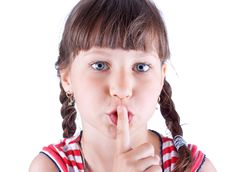 Free Funny Lovely Girl With Her Finger To Her Mouth Stock Photography - 10134072