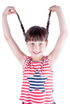 Free Little Cute Girl Hold Her Pig Tails Stock Image - 10134081