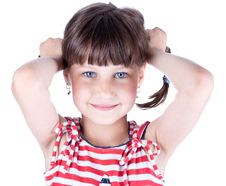 Free Little Cute Girl Hold Her Pig Tails Stock Images - 10134084