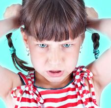 Free Upset Little Green Eyed Girl Stock Photo - 10134090