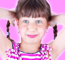 Free Cute Little Blue Eyed Girl Making Grimace Stock Photography - 10134092