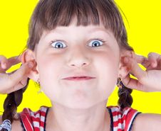 Free Cute Little Blue Eyed Girl Making Grimace Stock Image - 10134101