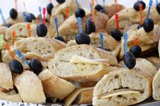Mini Sandwiches With Cheese And Olives Stock Photo