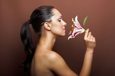 Free Beautiful Woman With A Flower Royalty Free Stock Photo - 10134865
