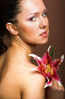Free Beautiful Woman With A Flower Stock Image - 10134881