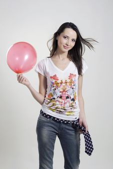 Free Happy Girl With Balloon Royalty Free Stock Photo - 10136015