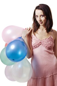 Free Smiling Girl Holding Balloons Stock Photos - 10136683