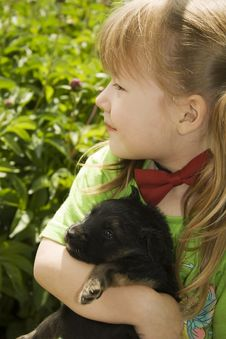Free Girl With Puppy Stock Photography - 10137592