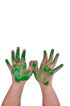 Free A Child S Hands With Green Paint Royalty Free Stock Photography - 10137747