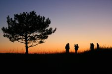 Silhouettes In The Sunset Royalty Free Stock Photography