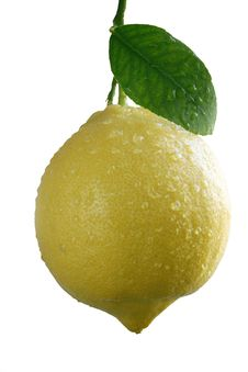 Free Fresh Lemon With A Leaf Royalty Free Stock Image - 10137966