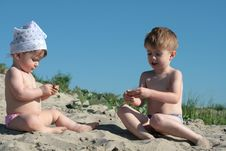 Free Children On Sand Stock Image - 10138371